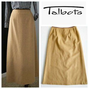 Vtg Talbots Petites Camel Hair Leather Maxi Skirt